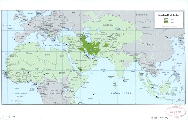 Muslim distribution : [Islamic countries].