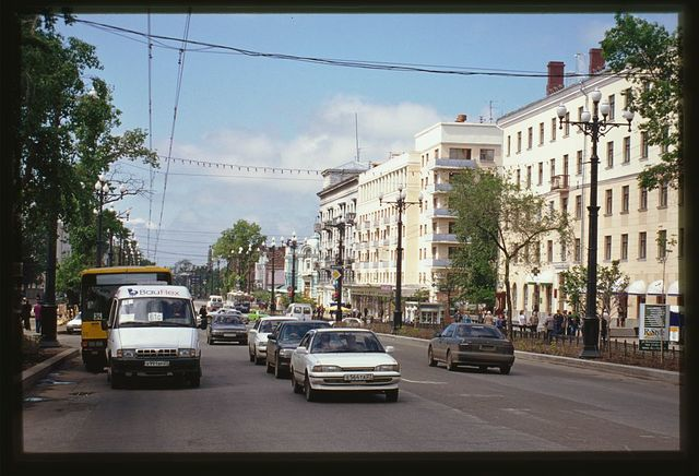 Office and apartment buildings (Muravyov-Amurskii Street 15, 13, 11), (1930s-50s), Khabarovsk, Russia