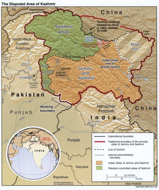 The disputed area of Kashmir.