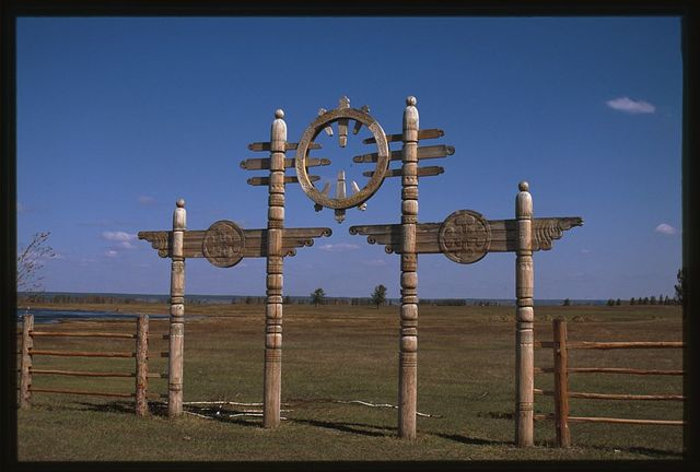 Us-Khatyn festival site, ceremonial gate, sculptor William Yakovlev, Yakutsk, Russia