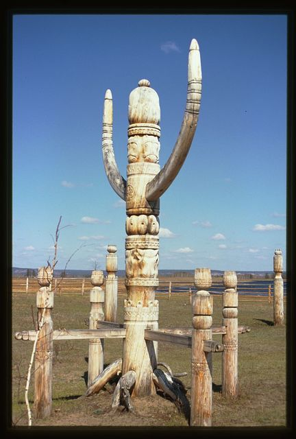 Us-Khatyn festival site, ceremonial post (serge), sculptor William Yakovlev, Yakutsk, Russia