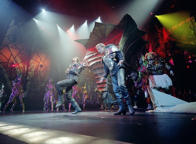 Illusionists Siegfried (right) and Roy and friends onstage at the Mirage Hotel, Las Vegas, Nevada, just months prior to Roy Horn's career-disabling mauling by a white tiger in 2003