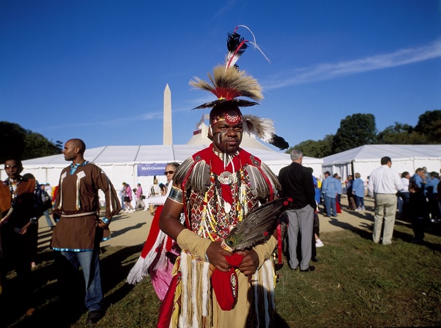 """Participants in the """"Million Indian March"""" on Washington, D.C., photographed on the National Mall on June 27th, 2003"""