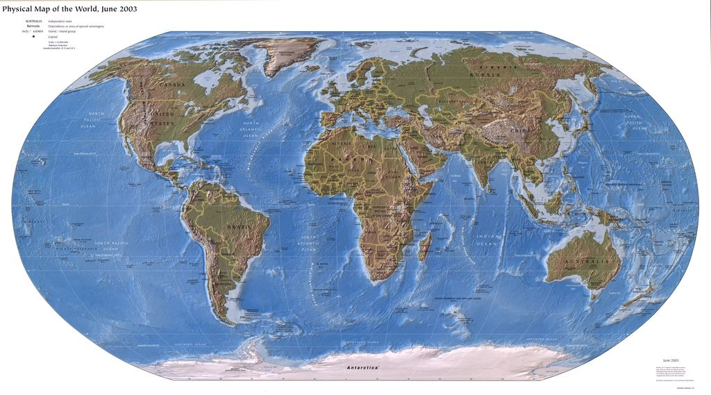 Physical map of the world, June 2003.