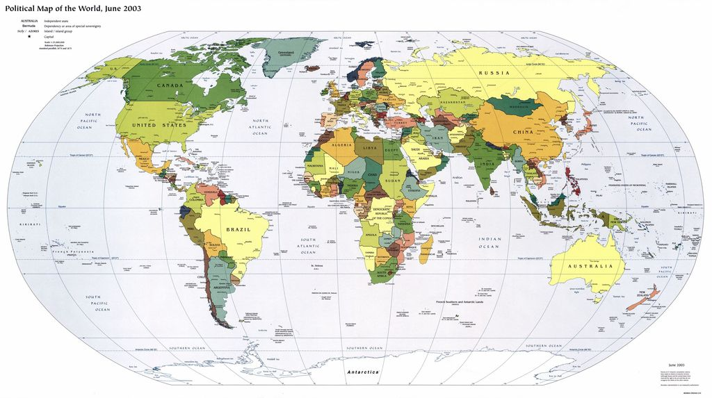 Political map of the world, June 2003.