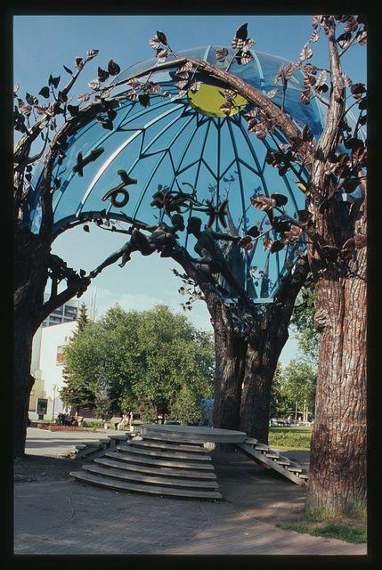 "Sculptural composition ""Sphere of Love,"" (2002), sculptor Viktor Mitroshin, canopy detail, Cheliabinsk, Russia"