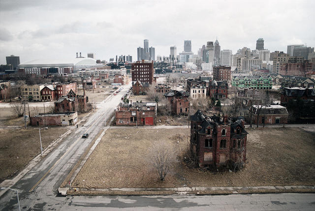 View south along John R St. from Edmund Place, Detroit, 2003
