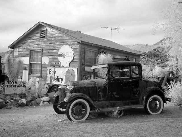 View of vintage car at the Hackberry General Store, Route 66, Hackberry, Arizona