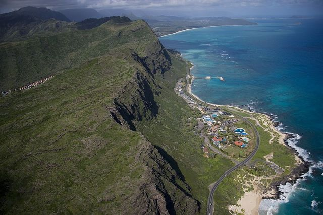 Aerial view of resort on the north shore, Hawaii
