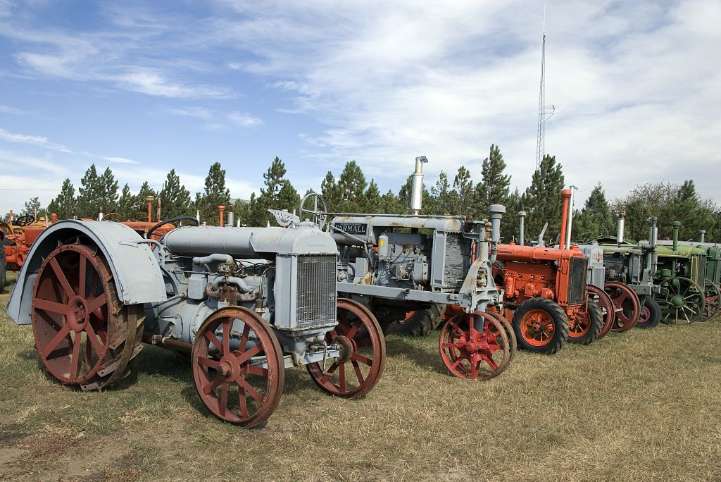 Old tractors along the road, Montana