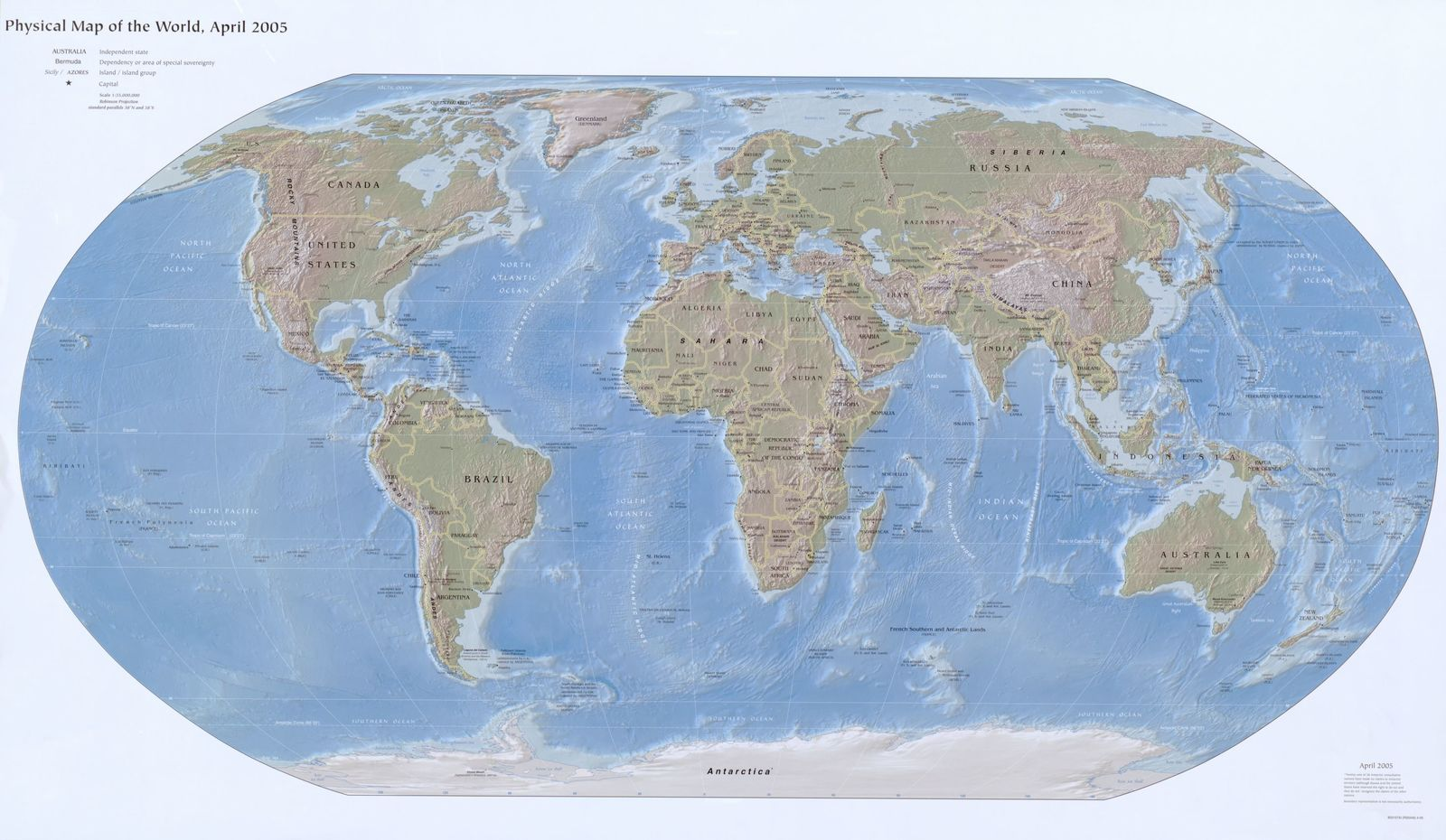 Physical Map Of The World April 2005 Picryl