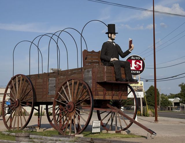 Abe Lincoln sits on a wagon, Route 66, Lincoln, Illinois