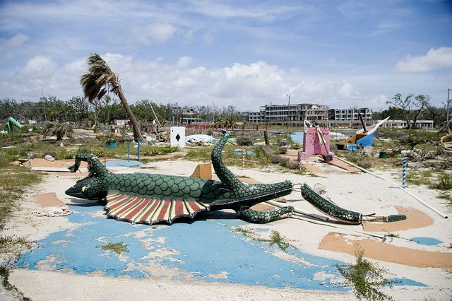 Broken miniature golf pieces in the ruins of Biloxi, Mississippi coast after hurricane Katrina