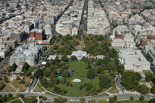 Aerial view of the White House, Old Executive Office and Washington, D.C. business district