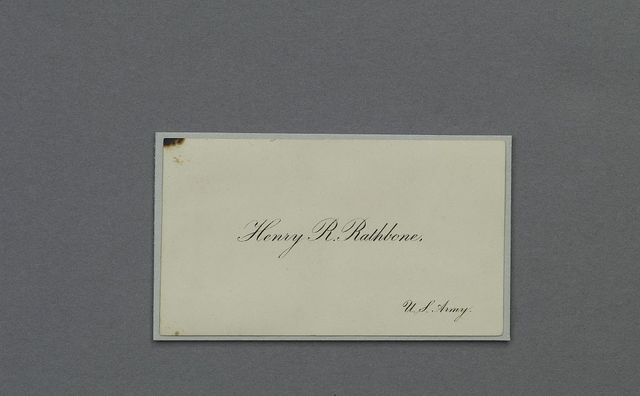 [Calling card.] Henry R. Rathbone, U.S. Army. Artifact in the museum collection, National Park Service, Ford's Theatre National Historic Site, Washington, D.C.