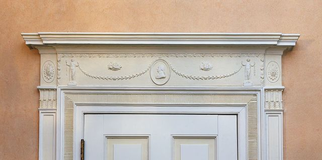 Door detail in the library, Blair House, located across from the White House, Washington, D.C.