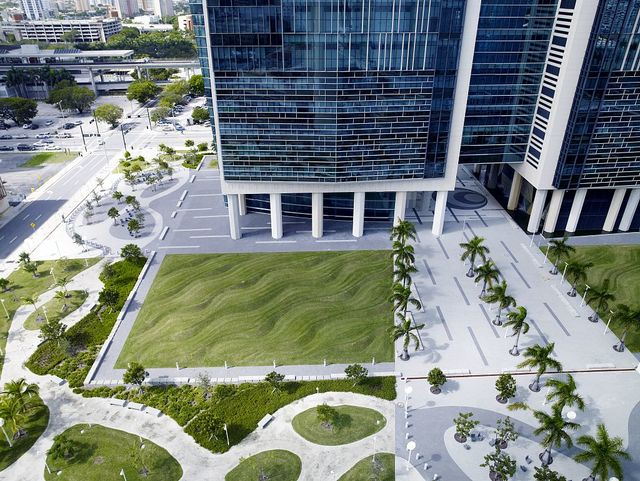 "Environmental art ""Flutter"" at the NE and SE lawn quadrants of the Wilkie D. Ferguson, Jr., U.S. Courthouse, Miami, Florida"