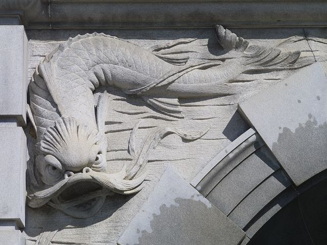 [Exterior view. Detail of dolphin in Neptune Fountain by Roland Hinton Perry. Library of Congress Thomas Jefferson Building, Washington, D.C.]