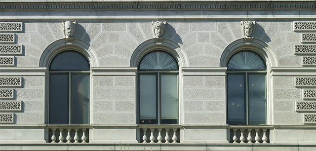 """[Exterior view. Ethnological heads called """"Turk,"""" """"Modern Egyptian (Hamite),"""" and """"Abyssinian."""" Library of Congress Thomas Jefferson Building, Washington, D.C.]"""