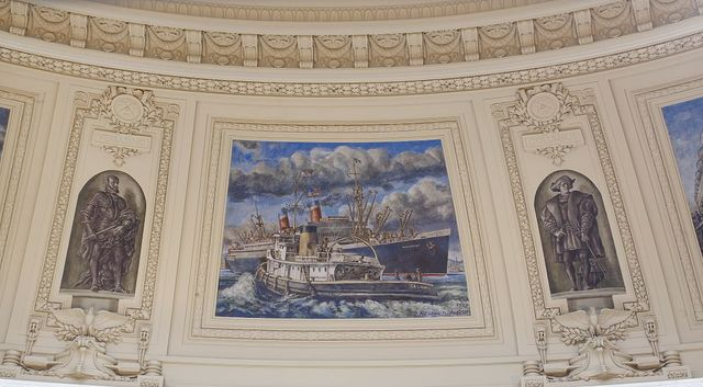 "Fresco painting ""Coast Guard Cutter Calumet Meeting the SS Washington,"" ""Explorer Verrazano,"" and ""Explorer Columbus"" located in rotunda of Alexander Hamilton U.S. Custom House, New York, New York"