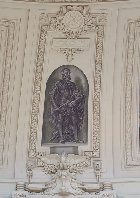 "Fresco painting ""Explorer Verrazano"" located in rotunda, Alexander Hamilton U.S. Custom House, New York, New York"
