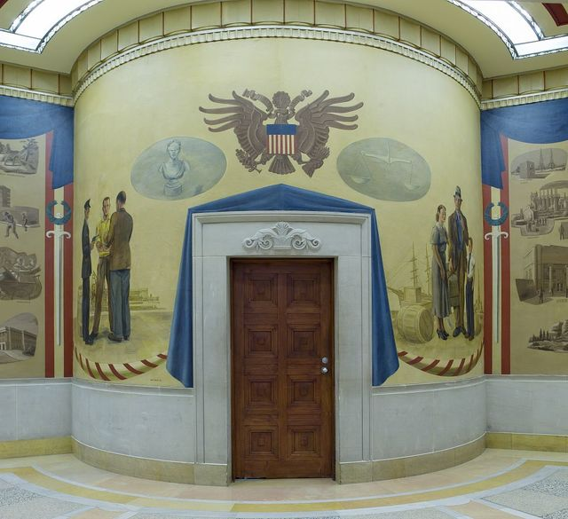 Full view of oil paintings, fifth floor elevator no. 10, Department of Justice, Washington, D.C.