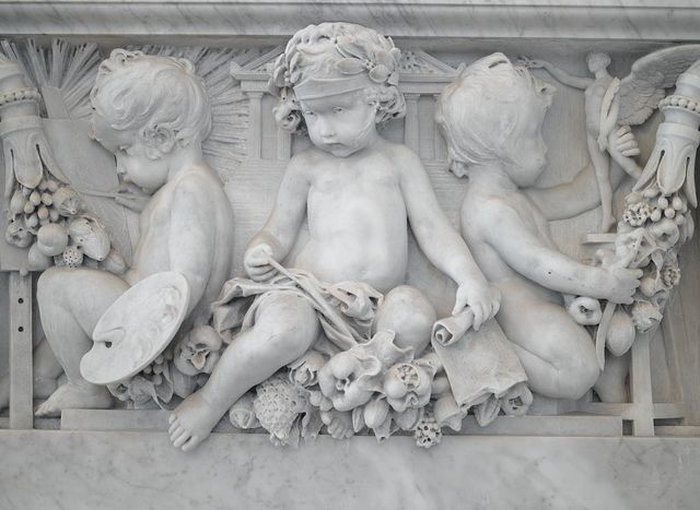 [Great Hall. Balustrade ornamented with three cherubs representing the fine arts on the Grand staircase by Philip Martiny. Library of Congress Thomas Jefferson Building, Washington, D.C.]