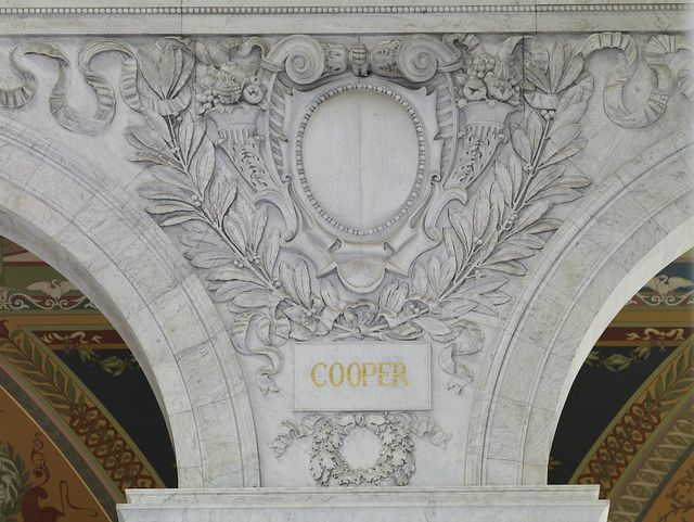 Great Hall. Cartouche of Cooper. Library of Congress Thomas Jefferson Building, Washington, D.C.]