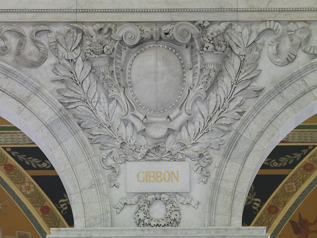[Great Hall. Cartouche of Gibbon. Library of Congress Thomas Jefferson Building, Washington, D.C.]