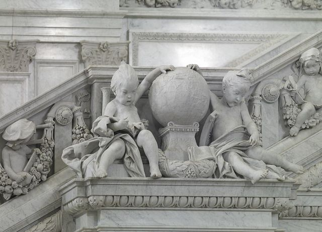 [Great Hall. Detail of cherubs representing Asia and Europe on the Grand staircase, Philip Martiny. Library of Congress Thomas Jefferson Building, Washington, D.C.]