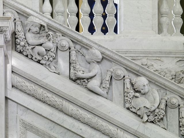[Great Hall. Detail of putti (cook, chemist, and Mars) on the Grand staircase, Philip Martiny. Library of Congress Thomas Jefferson Building, Washington, D.C.]