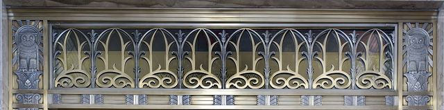 [Grille and owls above door to center reading room on fifth floor. Library of Congress John Adams Building, Washington, D.C.]