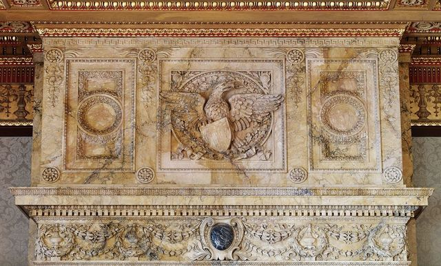 [House Members Room. Carved mantel and cornice of Siena marble. Library of Congress Thomas Jefferson Building, Washington, D.C.]
