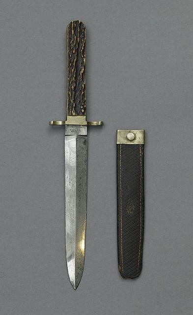[Knife and Sheath: Horn-handled dagger used by John Wilkes Booth to stab Major Henry Rathbone after shooting Abraham Lincoln.] Artifact in the museum collection, National Park Service, Ford's Theatre National Historic Site, Washington, D.C.