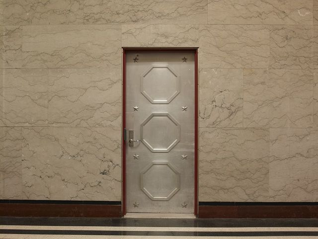 Lobby detail, door, William R. Cotter Federal Building, Hartford, Connecticut