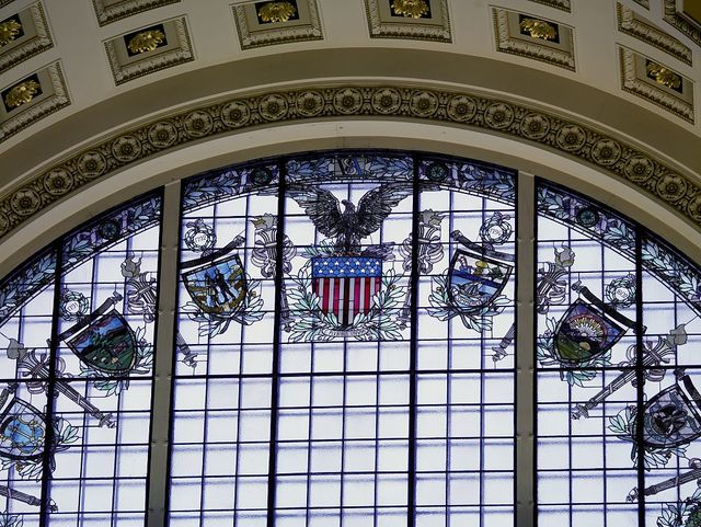 [Main Reading Room. Detail of stained glass window inside alcove. Library of Congress Thomas Jefferson Building, Washington, D.C.]