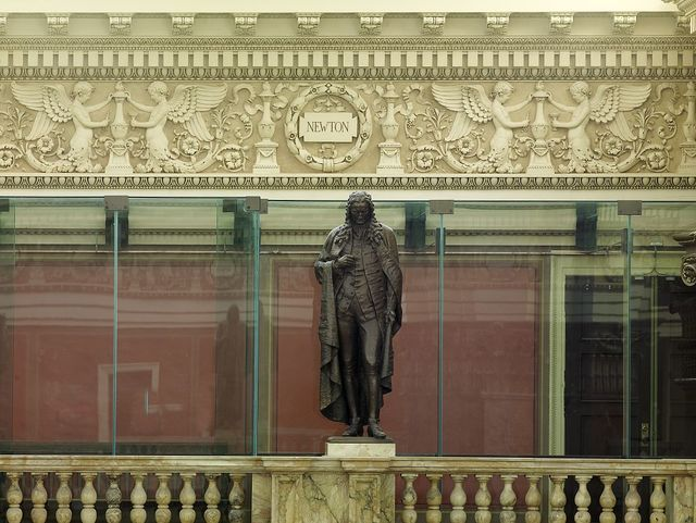 [Main Reading Room. Portrait statue of Newton along the balustrade by the Visitors' Gallery. Library of Congress Thomas Jefferson Building, Washington, D.C.]