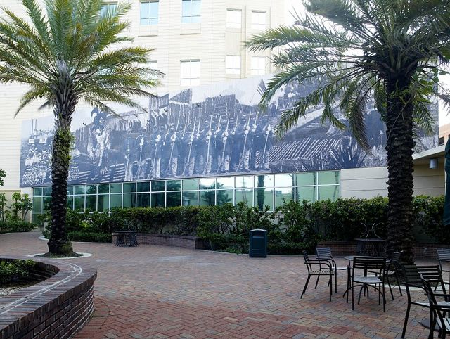 """Mural """"An Alternative History of Ft. Myers"""" in exterior courtyard of new Ft. Myers Federal Building, Ft. Myers, Florida"""
