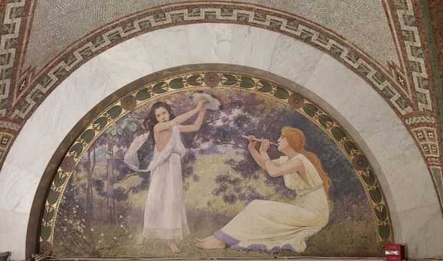 [North Corridor, Great Hall. Recreation mural in lunette from the Family and Education series by Charles Sprague Pearce. Library of Congress Thomas Jefferson Building, Washington, D.C.]