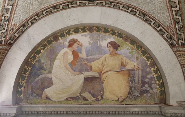 [North Corridor, Great Hall. Study mural in lunette from the Family and Education series by Charles Sprague Pearce. Library of Congress Thomas Jefferson Building, Washington, D.C.]