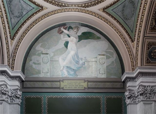 """[Northwest Corridor, First Floor. Mural depicting the muse Terpsichore (Dancing), by Edward Simmons, with quotation beginning """"Oh heaven born sisters ...."""" Library of Congress Thomas Jefferson Building, Washington, D.C.]"""