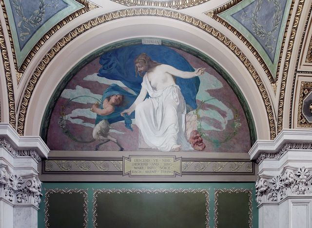"[Northwest Corridor, First Floor. Mural depicting the muse Thalia (Comedy and Bucolic Poetry), by Edward Simmons, with quotation beginning ""Descend, ye nine ...."". Library of Congress Thomas Jefferson Building, Washington, D.C.]"