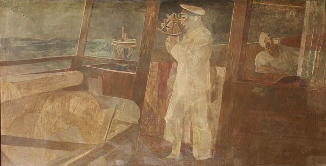 """Oil painting """"Government Aid to Deep Sea Navigation-Captain Taking Observation"""" located on south wall, west side of lobby, U.S. Custom House, Philadelphia, Pennsylvania"""