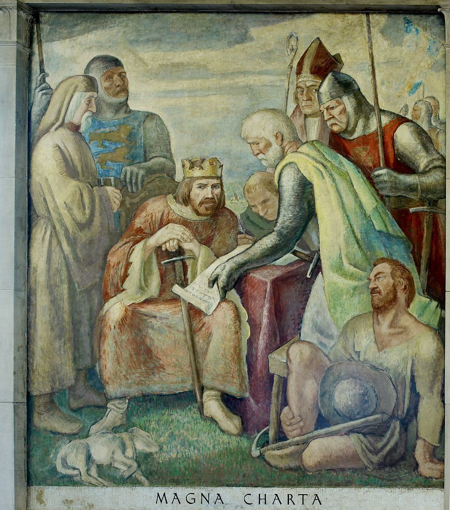 """Oil painting """"Magna Charta"""" located in stairway of Great Hall, Department of Justice, Washington, D.C."""