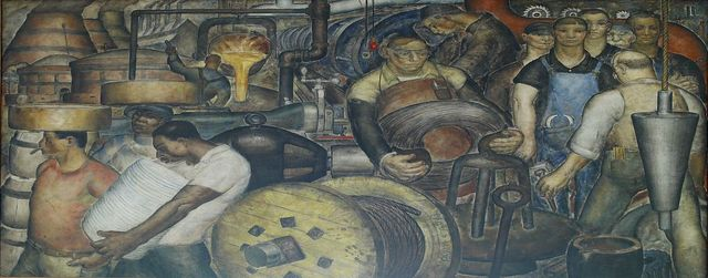 """Oil painting """"Progress of Industry"""" located in entrance lobby of Clarkson S. Fisher Federal Building and U.S. Courthouse, Trenton, New Jersey"""