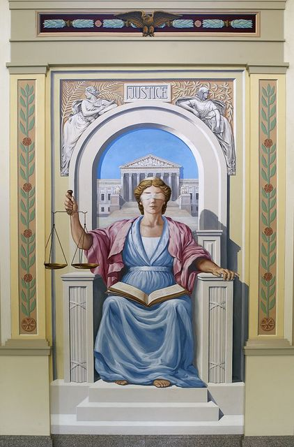 """Painting """"Justice in West Virginia"""" interior civic lobby, U.S. Courthouse and Federal Complex, Beckley, West Virginia"""