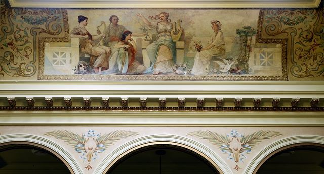 """Painting """"Poetry"""" in south atrium ceiling of Federal Complex, Erie, Pennsylvania"""