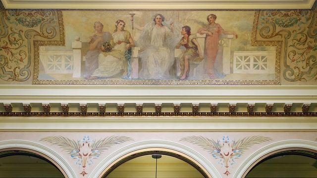 """Painting """"Science"""" in west atrium ceiling of Federal Complex, Erie, Pennsylvania"""
