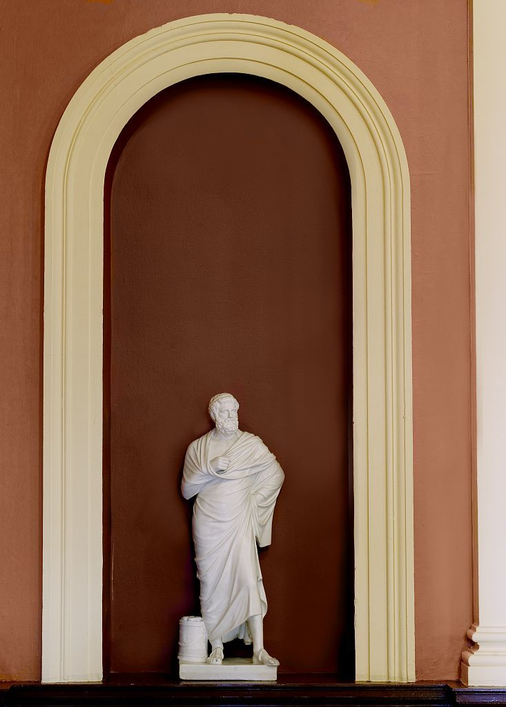 """Plaster sculpture """"Statue of Sophocles"""" located in library lobby, Federal Building and U.S. Courthouse, Erie, Pennsylvania"""