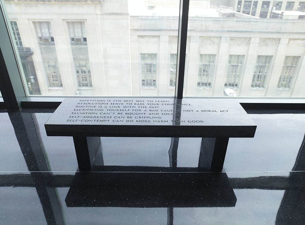 "Sculpture ""Allentown Benches: Selections from Truisms and Survival Series"" in lobby of Edward N. Cahn Federal Building and U.S. Courthouse, Allentown, Pennsylvania"